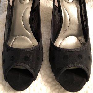 Black Polka Dot Peep-toe Pumps, Size 6 1/2 M